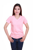 Young beautiful female with blank t-shirt Stock Photography
