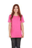 Young beautiful female with blank t-shirt Royalty Free Stock Photos