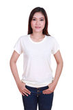 Young beautiful female with blank t-shirt Royalty Free Stock Image