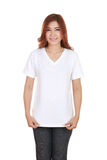 Young beautiful female with blank white t-shirt Stock Images