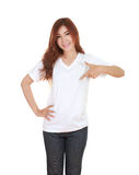 Young beautiful female with blank white t-shirt Stock Photos