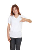 Young beautiful female with blank white t-shirt Royalty Free Stock Photo