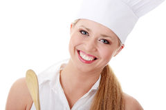 Young beautiful female cook Royalty Free Stock Images