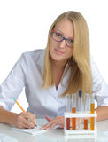 Young beautiful female doctor with recipe Royalty Free Stock Images