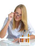 Young beautiful female doctor with recipe Stock Photos
