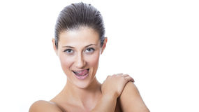 Young beautiful female face with healthy skin Royalty Free Stock Photos