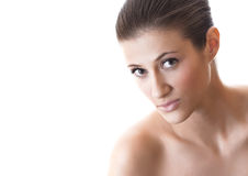 Young beautiful female face with healthy skin Royalty Free Stock Image