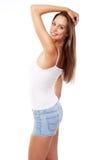 Young beautiful female model on white background Royalty Free Stock Photo