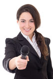 Young beautiful female reporter with microphone isolated on whit Stock Images