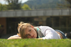 Young beautiful female student on campus Royalty Free Stock Photo
