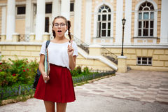 Young beautiful female student in glasses holding folders, thinking outdoors, park background. Stock Photography