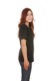 Young beautiful female with t-shirt (side view) Royalty Free Stock Images