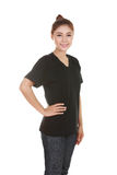 Young beautiful female with t-shirt (side view) Royalty Free Stock Photos