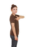 Young beautiful female with t-shirt (side view) Stock Photography