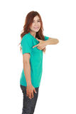 Young beautiful female with t-shirt (side view) Stock Photo