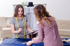 Young beautiful female tailor taking measurements. The young beautiful female tailor taking measurements royalty free stock photo