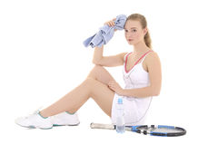 Young beautiful female tennis player tired Stock Photography