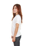 Young beautiful female with white t-shirt (side view) Royalty Free Stock Images
