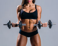 Young beautiful fitness female posing in studio Stock Images