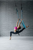 Young beautiful fitness woman posing in studio Royalty Free Stock Images
