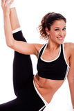 Young beautiful Fitness woman stretching her leg Royalty Free Stock Photos