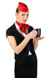 Young beautiful flight attendant Stock Photography