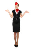 Young beautiful flight attendant Stock Images