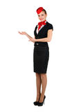 Young beautiful flight attendant Stock Image