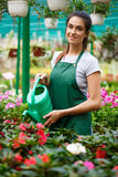 Young beautiful florist watering flowers over blury outdoor background. Royalty Free Stock Photos