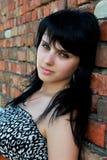 Young beautiful girl. Portrait of beautiful young woman posing over brick wall Stock Photos