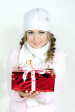 The young beautiful girl an angel. With gifts Stock Photos