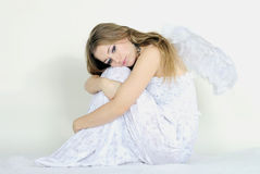 The young beautiful girl an angel with wings Royalty Free Stock Image