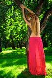 Young beautiful girl in the apple orchard Royalty Free Stock Photos