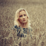 Young beautiful girl in autumn field Royalty Free Stock Photography