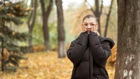 Young girl in the autumn park in black jacket royalty free stock photography