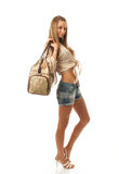 The young beautiful girl with a bag Royalty Free Stock Photos