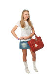 The young beautiful girl with a bag Stock Photo