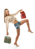 The young beautiful girl with a bags Stock Photos
