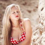 Young beautiful girl in a bathing suit Royalty Free Stock Photo
