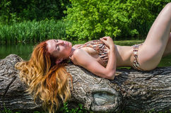 Young beautiful girl in a bathing suit lying on a tree on the bank of river sunny summer day Stock Image