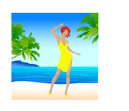 Young beautiful girl on beach Royalty Free Stock Images