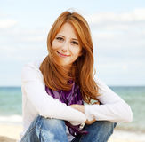 Young beautiful girl at the beach. Stock Image