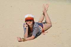 Young beautiful girl at the beach Stock Photography