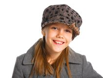 Young beautiful girl in a beret and coat Royalty Free Stock Photo