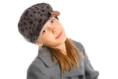 Young beautiful girl in a beret and coat Royalty Free Stock Photos