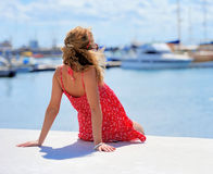 Young girl on a berth Stock Image