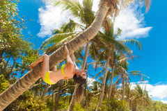 Young beautiful girl in bikini on the palm tree on a tropical be Stock Image