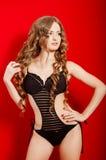 Young beautiful girl in a bikini in the studio Royalty Free Stock Image