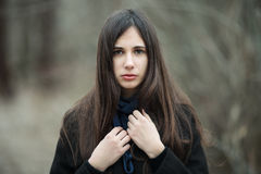 Young beautiful girl in a black coat blue scarf close up in autumn / spring forest park. An elegant brunette girl with gorgeous ex Stock Photos