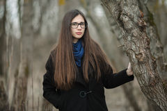 Young beautiful girl in a black coat blue scarf glasses walking in the autumn / spring forest park. An elegant brunette girl with Royalty Free Stock Photo